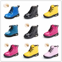 Spring Children's Boots Girls Waterproof Patent Leather Toddler shoes Fashion Boys Shoes Snow Kids Size 21-36 211019