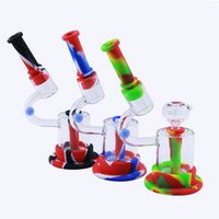 """Design Glass Bong With 14mm Bowl 8"""" Mini Bongs Smoking Accessories Filter Bubbler Silicone Water Pipes Withs Gift Box Packaging"""