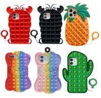 Toys Push Bubble Téléphone Etuis pour iPhone 12 11 PRO Max x XS XR 7 Plus 8 Revive Stress Soulagement Toy Soft Silicone Gel Cover W1122