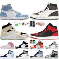 Nike Air Jordan 1 Retro 1 Off white Travis scott 1s Korkusuz ile Kutusu Jumpman 1 1 S Kadın Erkek Basketbol Ayakkabı Bred UNC Yüksek OG Siyah Hava Eğitmenleri Sneakers