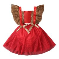 kids Christmas Rompers girls lace Flying sleeve romper infant toddler Xmas Net yarn Mesh Jumpsuits summer fashion baby Climbing clothes