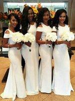 신부 들러리 드레스 빈티지 드레스 흰색 탄성 새틴 오프 - 어깨 웨딩 파티에 대 한 신부