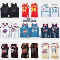 Benutzerdefinierte S-6XL Männer Frauen Jugend genäht Basketball-Trikots 34 Hakeem Olajuwon Jersey Rot Schwarz Mitchell Ness 1993-1994 Hardwoods Classics Retro Wear