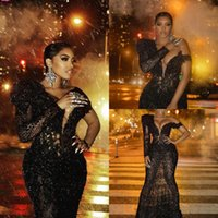 Sparkly Black Mermaid Prom Dresses 2021 Arabic African Lace Sequined Single Long Sleeve Women Plus Size Formal Evening Gowns