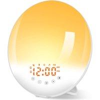 Rádio de despertador com lâmpada de cabeceira de luz 30 Níveis de brilho Amanhecer e Dusk Simulator, Acordar Função Snooze, 8 sons naturais