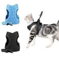 Yansıtıcı Kedi Tasma Örgü Yavru Koşum Seti Ayarlanabilir 3 Katmanlar Nefes Halat Yelek Şerit Sarf Malzemeleri Yaka ile Pet Göğüs Kayışı