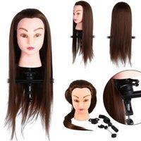 24 pollici Professional Manichin Heads Model Practice Acconciatura Allenamento Doll Head con strumento + supporto per morsetto