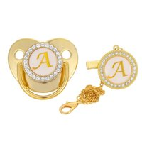 Pacifiers# 26 Name Initial Letter Baby Pacifier And Clips BPA Free Silicone Infant Nipple Gold Bling Born Dummy Soother