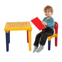 Kids Table and Chair Set Children Letter Activity Table with Chair Plastic Girls Boys Play Picnic Educational Dining Table Playroom Furniture