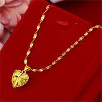 Fashion Real 18K Gold Necklace Pendant for Women Wedding Engagement Jewelry Love Heart Chain Necklace Choker Birthday Gifts Girl 820 R2