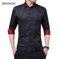 Browon Est Plus Размер мужской социальной рубашки с длинными рукавами не железных мужчин Цветочные мужские бизнес-импортированные - Китай