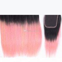 Dunkle Wurzeln # 1b Rosa seidig gerade 3bundles schuss mit 4x4 Verschluss Ombre Rosa Brasilianisches Reines Haar 3bundles mit Spitzenverschluss