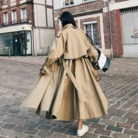 Women's Trench Coats Brand Fashion X-Long Women Cloak Khaki Lady Windbreaker Female Coat Spring Autumn Outerwear Clothes Loose Oversize