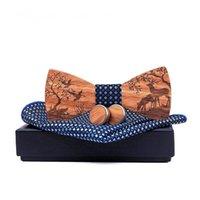 الرابط القوس الخشب بووتي + منديل + أزرار أكمام مجموعات الزواج العريس خشبي bowknots gravatas الزفاف عيد الميلاد الأيائل الرقبة