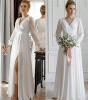 2022 Beach Country Wedding Dresses Bridal Gown A Line V Neck Long Sleeves Side Slit Chiffon Floor Length Custom Made Plus Size vestidos de novia