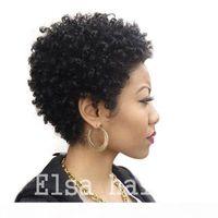 Hot Beauty Tight Afro Kinky Curly Celebrity Menschliches Haar Perücken Brasilianisches Haar Celebrity Billig Sehr kurzer natürlicher Schwarzer Mensch Keine Spitze Guleless