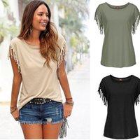 Polo shirts Runde Frauen Große ne Kurzarm Fransen Gebundenes T-Shirt Top