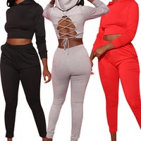 Mulheres Tracksuits Dois Peças Definir Cor Sólida Manga Longa Camisola Com Capuz Backless Calças De Bandagem Suits Senhoras Moda Outfits 2020