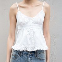 White Simple Cotton Camis Women 2021 Summer Sexy V Neck Sleeveless Ruffles Hem Tank Top Femme Vintage Casual Tops Chic