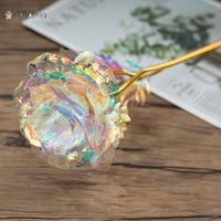 Regalo del día de Navidad Regalo de oro 24k Papelizado en oro Rose Los regalos creativos duran para siempre Rose para el día de San Valentín regalos de niña BM26