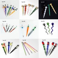 DHL 10 Types Smoking Glass Wax Dabber Tool Colored Stick Carve Dry Herb Tobacco Dab Rigs Handle Nails Tools Quratz Banger Water Bong