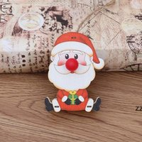 Christmas Wooden Glowing Ornaments LED Light Luminous Santa Snowman Deer Hanging Pendant Xmas Tree Decorations Child Toy Gifts HWD10282