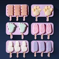 3D silicone sorvete molde picolé moldes com tampa DIY caseiro molde de lolly sorvete de gelado de gelo molde do fabricante de gelo DHL