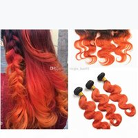 Two Tone Color Human Hair Orange Ombre Lace Frontal Closure T1b 350 Orange Body Wave Peruvian Virgin Hair 3 Bundles With Frontal