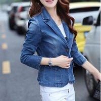 Women's Suits & Blazers 2021 Womens Office Ladies 1 Button Slim Fit Washed Stretch Work Denim Jean Business Suit Blazer Jacket Coat