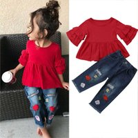 Blotona 키즈 아기 소녀 여름 티셔츠 탑스 드레스 옷 + 자수 꽃 청바지 바지 복장 세트 1-6years y0705