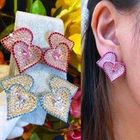 Dangle & Chandelier Missvikki Sweet Romantic Korean Style Cute LOVE Heart Earrings For Women Bridal Wedding Girl Daily Fine Jewelry High Qua