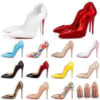 2021 Zapatos de vestir de tacón alto Estilos Bottoms rojos Tacones de aguja para mujer Diseñador de cuero genuino Luxurys 8 10 12 Cm Bombas con punta puntiaguda Mocasines 35-42