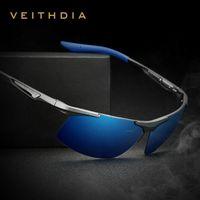 Veithdia الألومنيوم المغنيسيوم الرجال النظارات الاستقطاب الرجال طلاء مرآة نظارات oculos الذكور نظارات الملحقات للرجال 6562