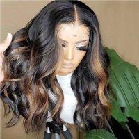 강조 표시된 가발 13x4 Ombre 갈색 바디 웨이브 투명 레이스 프론트 레미 인간의 머리 가발 실크베이스 정면 13x6x1