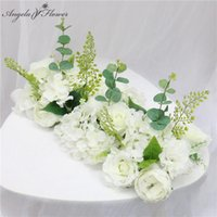 Decorative Flowers & Wreaths 50CM Wedding Road Cited Wall Silk Rose Peony Hydrangea DIY Arched Door Artificial Flower Row Window T Station D