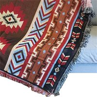 Aztec Towel Mat Throw Wall Colgando Alfombras de algodón Classic Woven Máquina Lavable Picnic Sofá Manta Decoración para el hogar 130x160cm 765 R2