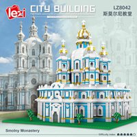 Lezi 8042 Church Church Church Architection 3D модель DIY Diamond Mini маленькие частицы строительные блоки сборочные игрушки для детей подарок x0503