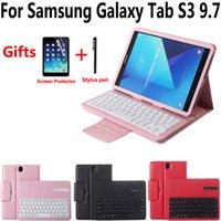 Drahtlose Bluetooth-Tastatur-Tablet-Gehäuseabdeckung für Samsung Galaxy Tab S3 9.7 SM-T820 T820 T825 mit Bildschirmschutzfolien