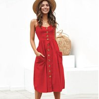 Casual Dresses Bikoles Summer Sexy Solid Sleeveless V Neck Lady Camisole Print Dress Backless Empire Floral Buttons Pockets Women Plus Size