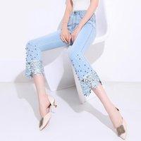 Women's Jeans FERZIGE Luxury Lace Beading Pants Women Fashions Skinny High Waist Female Casual Slim Fit Plus Size Light Blue