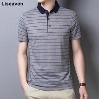 Liseaven camiseta 2021 marca manga curta poloshirt pólos listrados para macho
