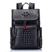 Mochila de cuero genuino de Luufan Mochila de cocodrilo negro Mochila portátil para mujeres de cuero de cuero Daypacks de gran capacidad 201116
