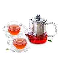 3In1 conjunto de té -370ml Tetera de cristal resistente al calor Tapa de infusión + 2x platillo de taza