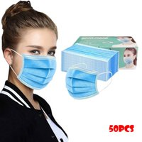 Cycling Caps & Masks 50pc Bluedlut Disposable Face Mask Fashion 3 Layer Non-woven Fabric Mouth Cover For Headband Hiking Scarves Mascarillas