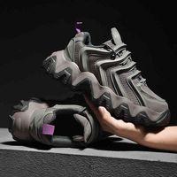 Jinbaoke أزياء الرجال أحذية رياضية تنفس شبكة الاحذية للرجال سميكة أسفل الأحذية الرياضية في الهواء الطلق أحذية المشي مريحة