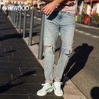 Simwood Primavera New Hole Jeans Homens Moda Rasgado Denim Calças Retalhos Slim Fit Marca Roupa Plus Size 1800751