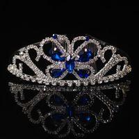 Hair Clips & Barrettes Crystal Butterfly Crown For Women Rhinestone Tiaras Kids Princess Blue Pink Crowns Headdress Girls Accessories Jewelr
