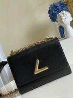 최고 품질의 여성 트위스트 데님 가방 fahion mm luxurys 디자이너 가방 정품 가죽 잠금 플랩 핸드백 Pochette 레이디 어깨 크로스 바디 핸드백 지갑 Womens 신발