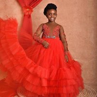 2022 Sheer Long Sleeevs Flower Girls' Dresses with Applique Beaded Sash Kids Formal Wedding Party Wear Tiered Tulle Pageant Birthday Gowns