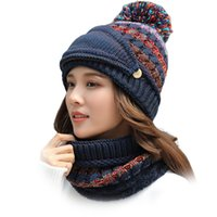 3 In 1 Women Winter Hat Face Cover Outdoor Sports Fashion Elastic Beanie Thick Casual Warm Skiing With Pompom Soft Circle Scarf